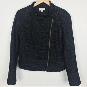 Loft Outlet Black and Silver Tweed Moto Zip Jacket